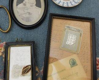 Ephemera: LIst with a feather $14 Ephemera: Letter to Emma, Buttons, Tally Sheet  $20