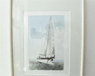 Frank Kaczmarek hand colored etching  $45   approximately 10 x 16