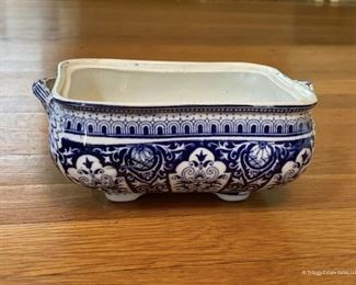 Blue and white serving bowl with missing lid  $15  Would make a lovely planter
