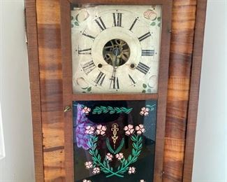 Antique Clock with reverse painted glass. Decorative only $40