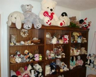 Collectible Stuffed Animals and Book Cases