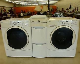Kenmore Washer Dryer with Storage Unit in Middle view 1