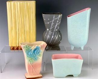 Lot of 5 McCoy American Art Pottery Vases