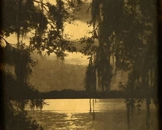 """R.H. LeSesne Orotone """"Trees & Water & Moonlight"""""""