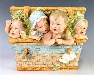 """Very Rare German Bisque """"Four Children in Basket"""""""