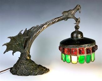 Grotesque Bronze Winged Figural Lamp C. 1900