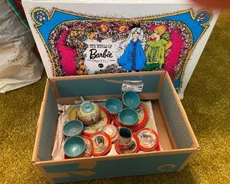 Vintage Barbi and Tea Set