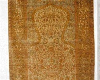 Important Silk Hereke Prayer Carpet