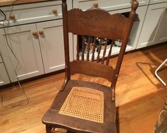 Set of antique pressed wood chairs