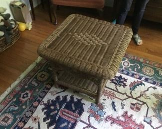 Antique wicker table, area oriental rug