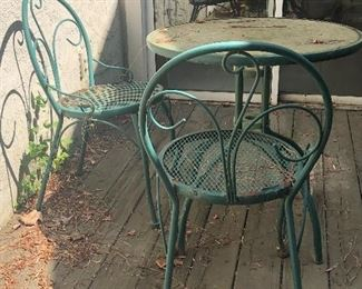 Heavy metal iron man bistro table w/ 2 chairs