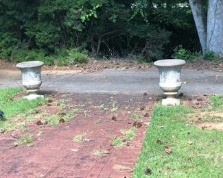 Pair of large concrete planters