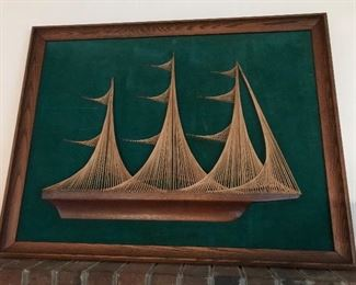 1960's Sail Boat String Art