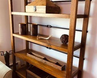 Arhaus wood and iron shelving unit