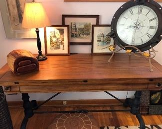 Arhaus wood and iron flip top table