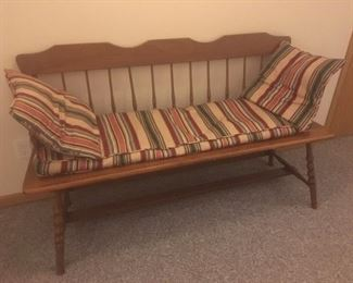 Antique Deacon's bench with cushions