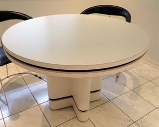 Amazing 80s post modern laminate dining table w/ 4 leather and stainless steel dining chairs