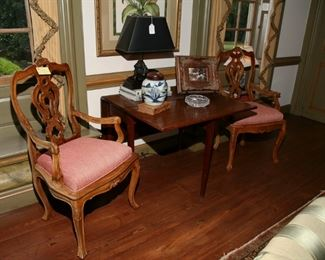 NICE LITTLE DROP LEAF TABLE AND HAND CARVED  FRENCH  ARM CHAIRS