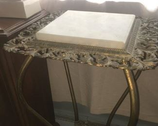 Marble Top & Brass Plant Stand