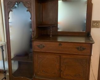$500.00......Beautiful Antique Secretary Sideboard with Mirror Back and Glass Door, Very Good Condition(A1)