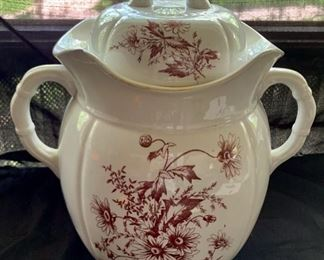 """$60.00......Brown Transferware Covered Chamber Pot, very large, 15"""" tall (A77)"""