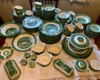 """$100.00......Colonial Homestead by Royal: 15 10"""" Plates, 2 Butters, 2 -11 1/2"""" Platters, 2-12"""" Platters, 1-10"""" Platter, 9-9 1/4"""" Plates, 1-10"""" Bowl, 1-7 1/2"""" Cov. Casserole, 15-6 1/2"""" B&B Plates, 18-8 1/2"""" Bowls, 25- 5 1/2"""" Sauce Bowls, 30 Saucers, 23 Cups, 5-6 1/2"""" Bowls, 3 Gravy Bowls, 2 Ashtrays, 2 Sale & Peppers, 1 creamer and Sugar (32 pieces as is not pictured)(A165)"""