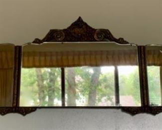 "$125.00......Beautiful Ornate Antique Mirror, Very good Shape, 47"" x 14"" (A164)"