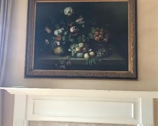 Large Floral art over FP in great room $ 225.00