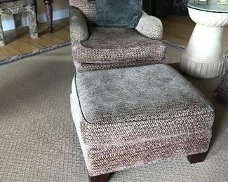 TWO AVAILABLE, Chenille chair and ottoman, each set selling for $ 295.00