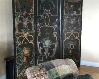 Painted room divider, floor screen, $ 325.00