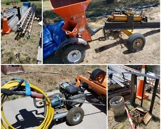 log splitter, wood chipper, power washer, ladders