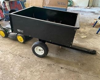 10 cubic foot steel trailer for riding lawn mower