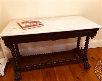 FABULOUS ANTIQUE MARBLE TOP TABLE WITH 2  HIDDEN DRAWERS
