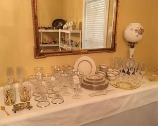 LENOX CHINA, GORHAM CRYSTAL, CRYSTAL CHAMPAGNE FLUTES, GWTW STYLE LAMP & MORE