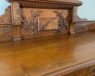 American Antique Bankers Roll Top Desk, from First National Bank of Tuscaloosa.  c1800s. Walnut/Mahogany/Birds Eye Maple.  (54.5w 30d 52h) $4000 -- DISCOUNTED TO $2000 FIRM.