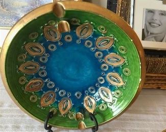 "Mid Century Mod Rosenthal Netter Aldo Londi Bitossi 8"" Art Pottery Ashtray Italy"