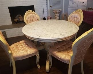 Vintage Pink chairs with marble-top table