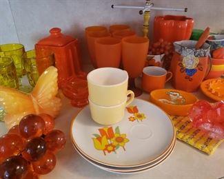 orange and yellow vintage kitchen