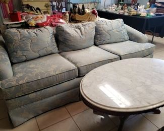 Ice blue vintage couch