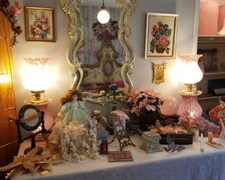 Many lamps and pieces of decor