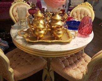 gold-tone tea service