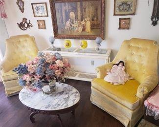 yellow velvet chairs