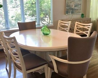 White Dining table with 6 gray chairs