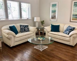 Pair Natuzzi ivory leather sofas & Coffee & end tables