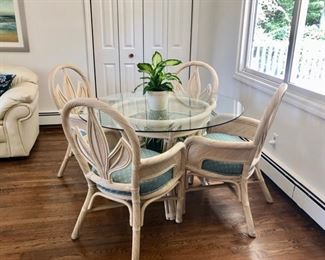 Vintage white glass top table & 4 chairs