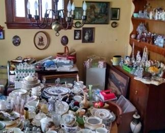 Angels,glasses dishes,lots of nik naks ,collectables,dining room table and chairs,hutch cabinet