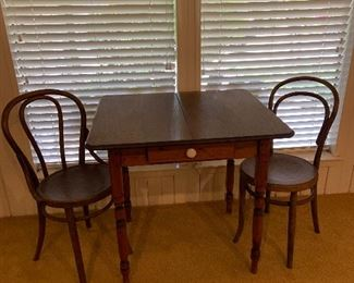 Vintage small wooden table and 2 vintage chairs, all sold separately