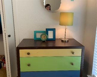 One of a kind! Metal dresser with painted drawers, industrial style