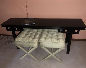 Asian inspired sofa table and (2) upholstered seats