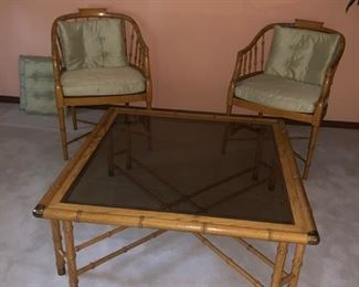 Hekman bamboo and glass coffee table with (2) Hekman bamboo armchairs